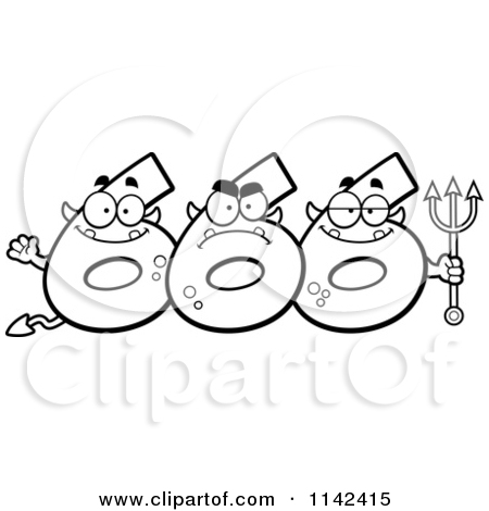 Cartoon Clipart Of A Black And White Three Number Six 666 Devils.