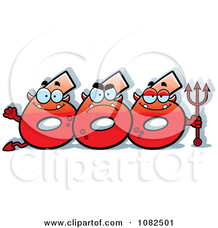Clipart Three Red Number Six 666 Devils.