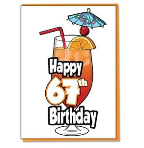 Details about Cocktail 67th Birthday Card.