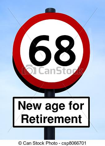 Clipart of New age for retirement, 68 roadsign, isolated on a blue.