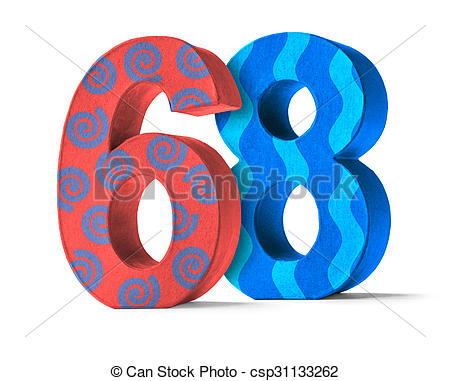 Stock Image of Colorful Paper Mache Number on a white background.