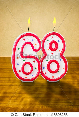 Stock Illustrations of Burning birthday candles number 68.