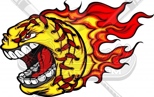 Flaming Softball Clipart Vector Clipart Image.