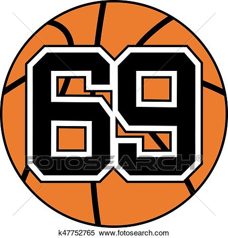 Ball of basketball symbol with number 69 Clipart.