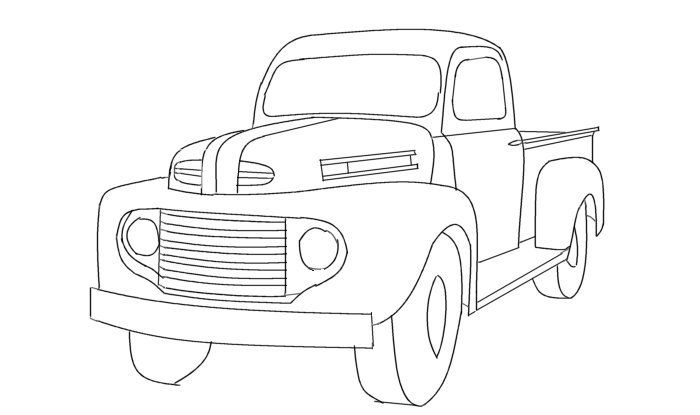 line drawing old ford pickup truck.
