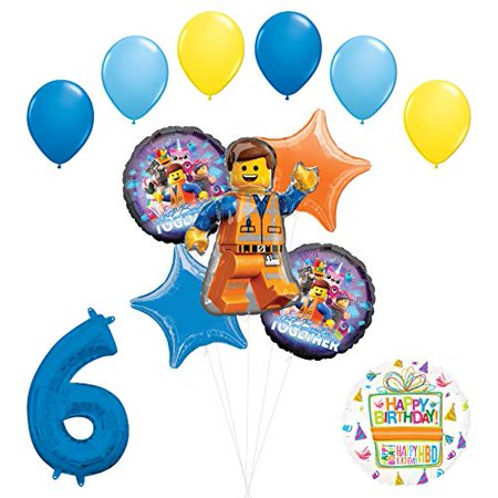 LEGO Movie Party Supplies 6th Birthday Balloon Bouquet Decorations.