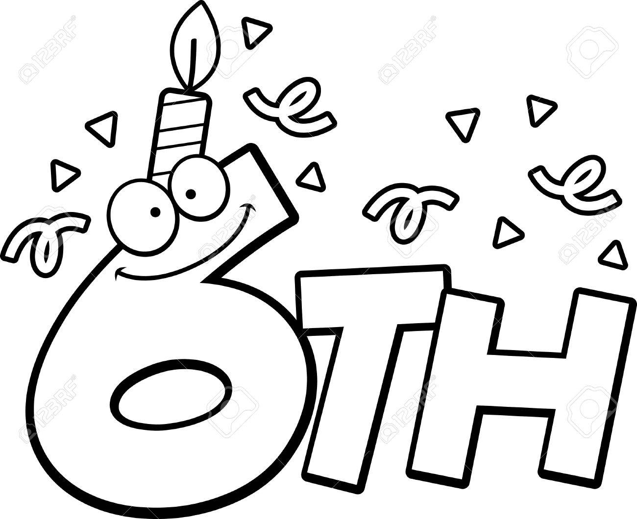 A cartoon illustration of the text 6th with a birthday candle...