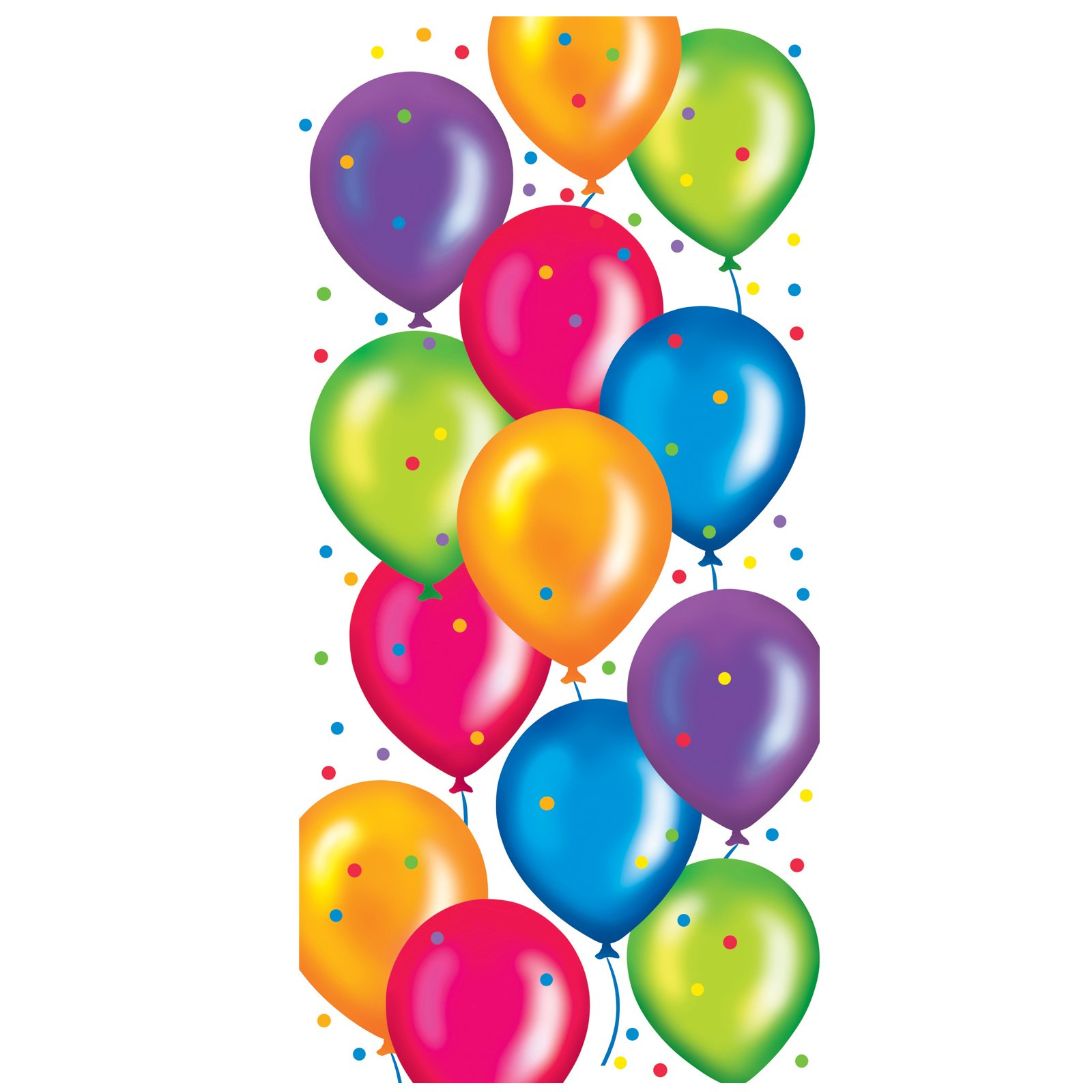 Clip art of a bouquet of colorful balloons for a birthday.