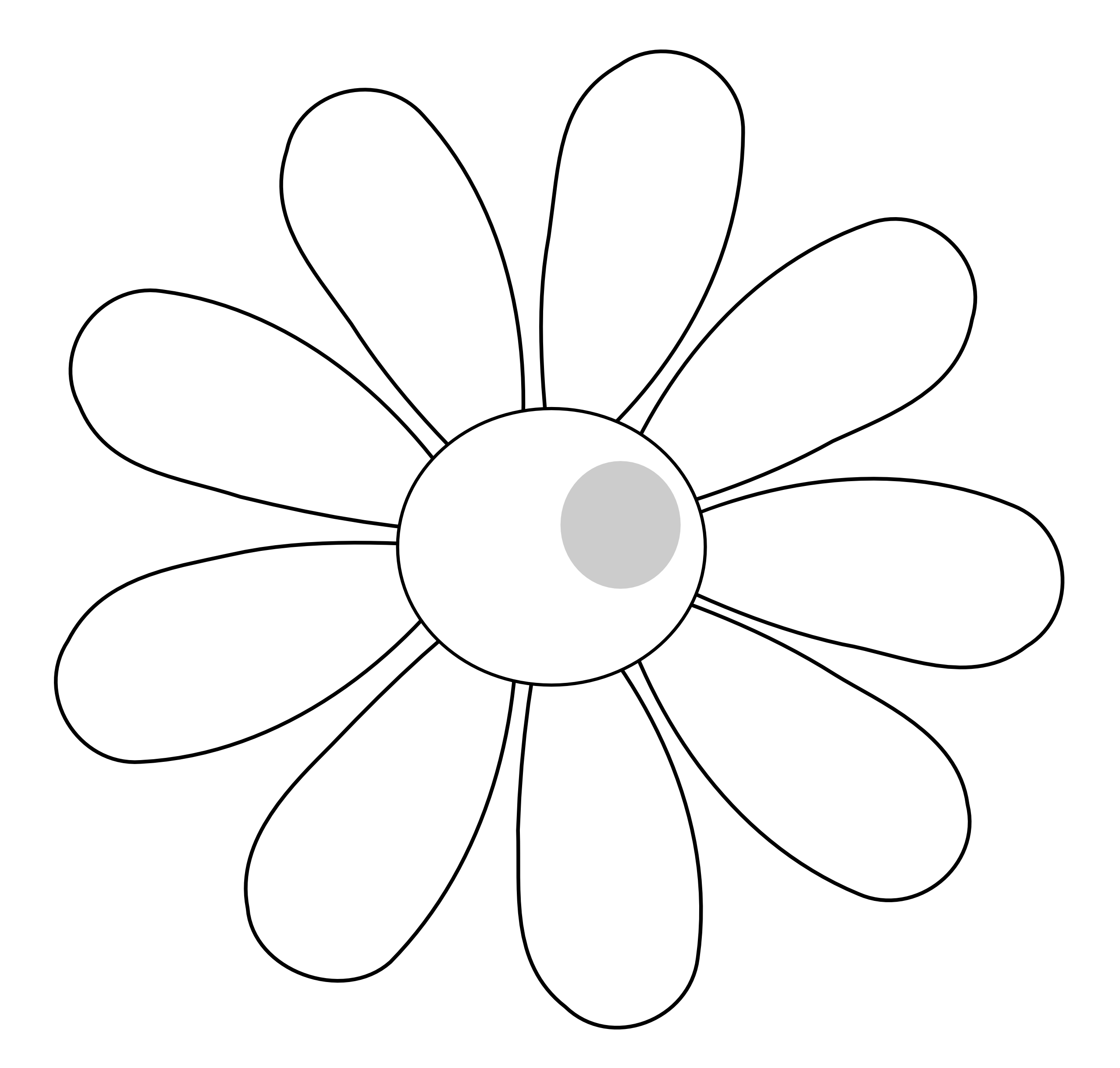 Daisy Flower 7 Black White Line Art Scalable Vector Graphics.