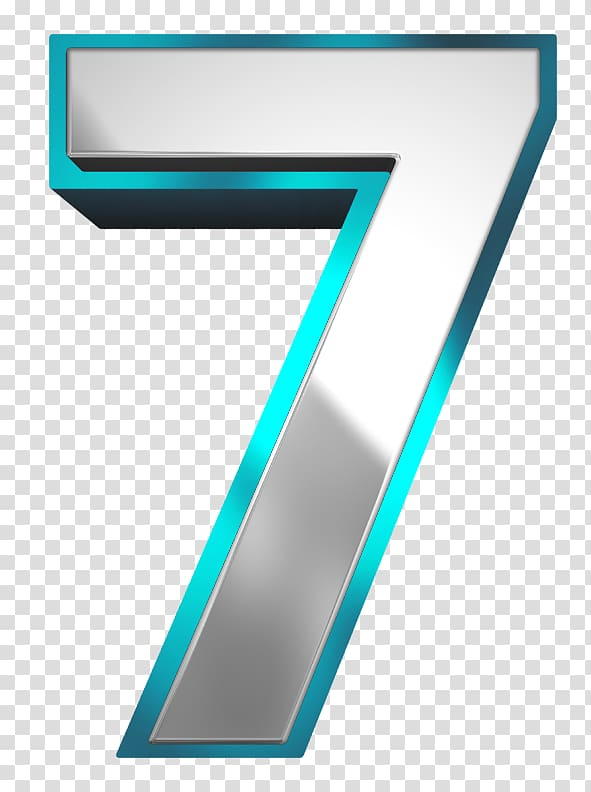 Grey and green number 7 illustration, Metallic and Blue.