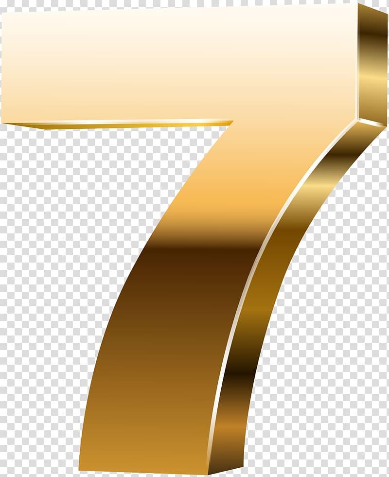 7 illustration, Yellow Font Angle Design, Number Seven 3D.