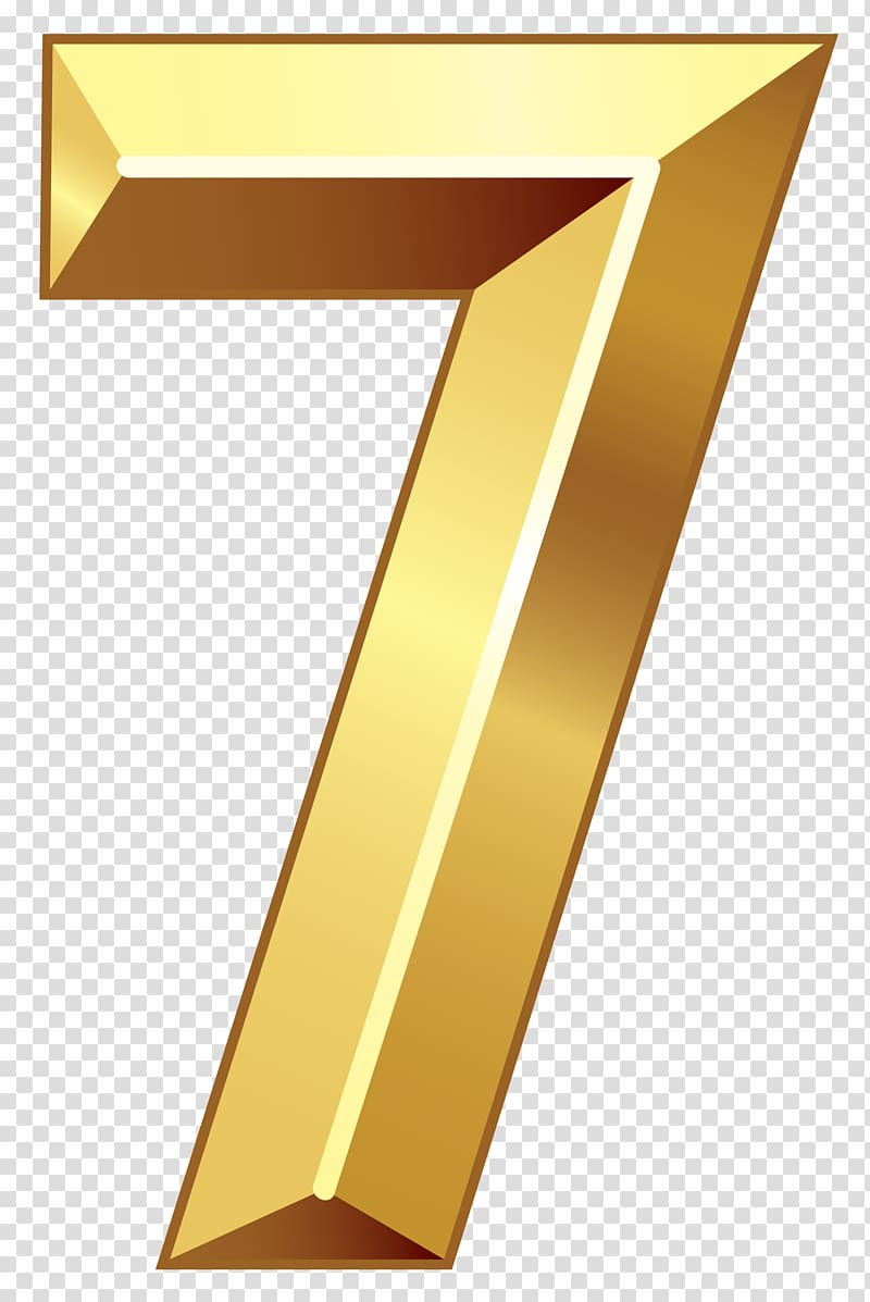 Gold 7 illustration, Line Triangle Yellow, Gold Number Seven.