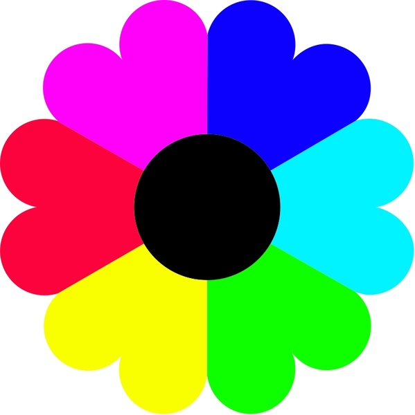 Flower 7 colors Free vector in Open office drawing svg ( .svg.