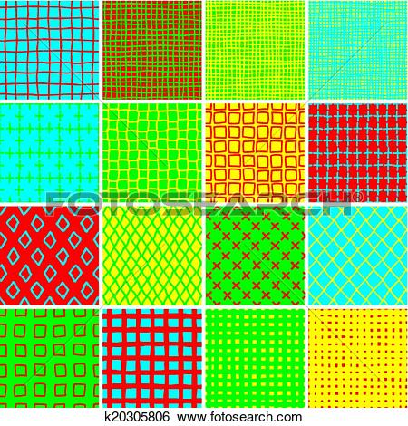 Clip Art of Basic Doodle Seamless Pattern Set No.7 in colors.