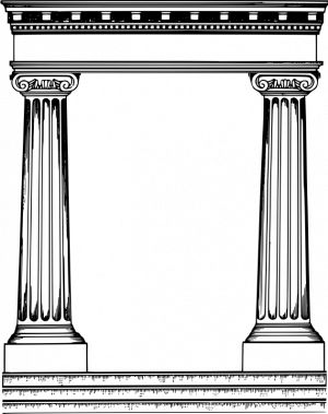 Roman pillars frame vector image in 2019.