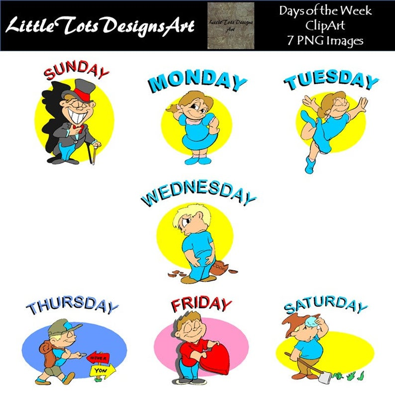 Days of the Week Clip Art Set, DIY Planner Stickers, Calendar Clipart,  Planner clipart for calendars, invitations, Commerical Use.