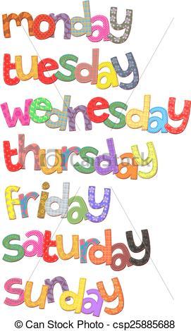 Week Days Text Clip Art.