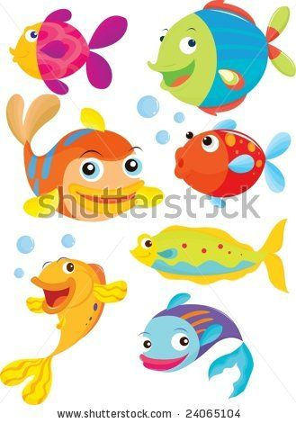 stock vector : seven fish swimming and blowing bubbles.