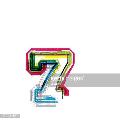 Colorful grunge font. Number 7 Clipart Image.