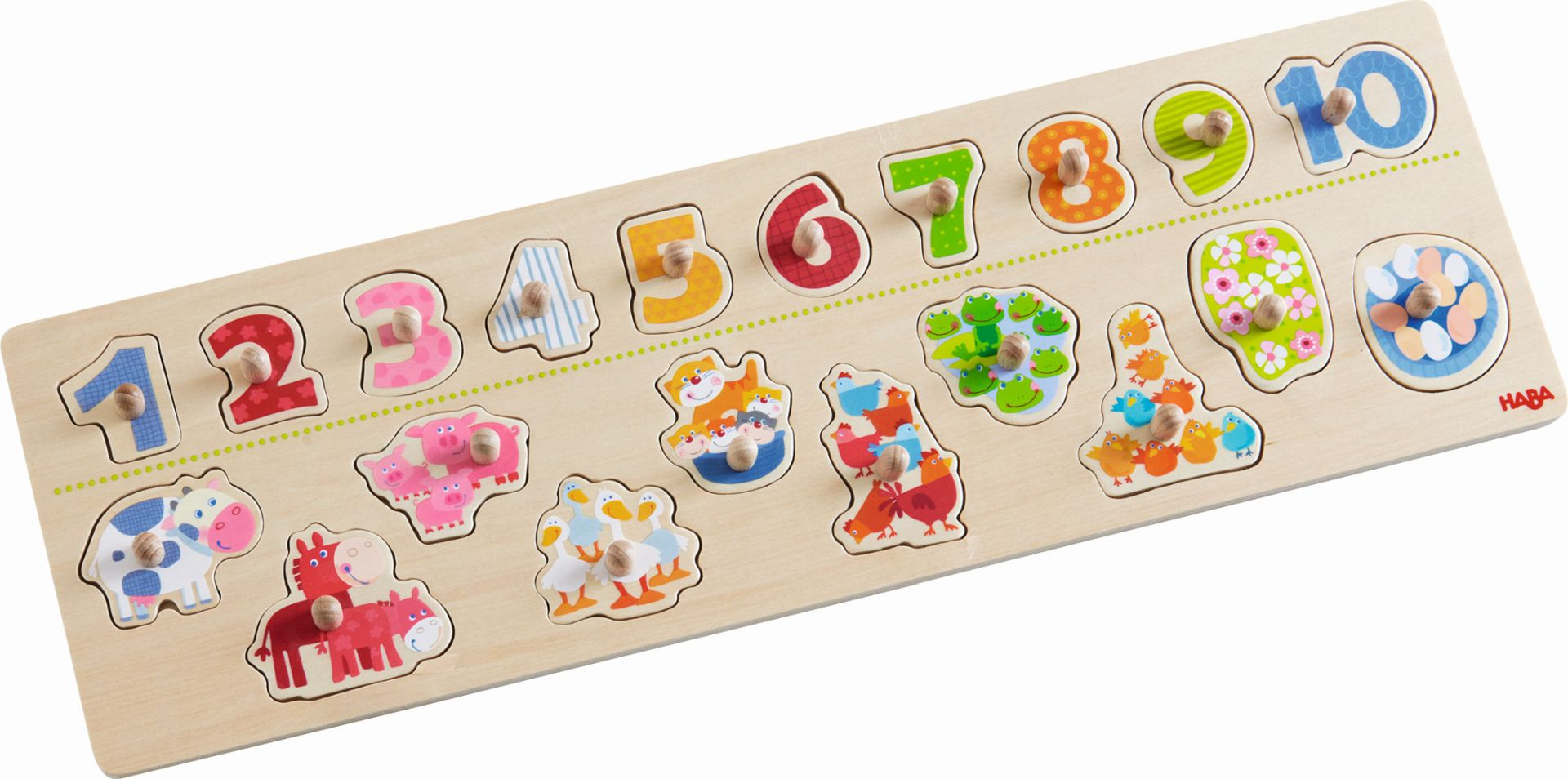 "Haba Clutching Puzzle ""Animals & Numbers""."