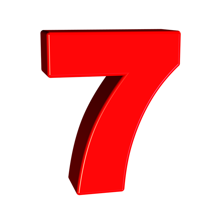 PNG Image, Transparent, Number 7, Digits, Red, Clipart #10.