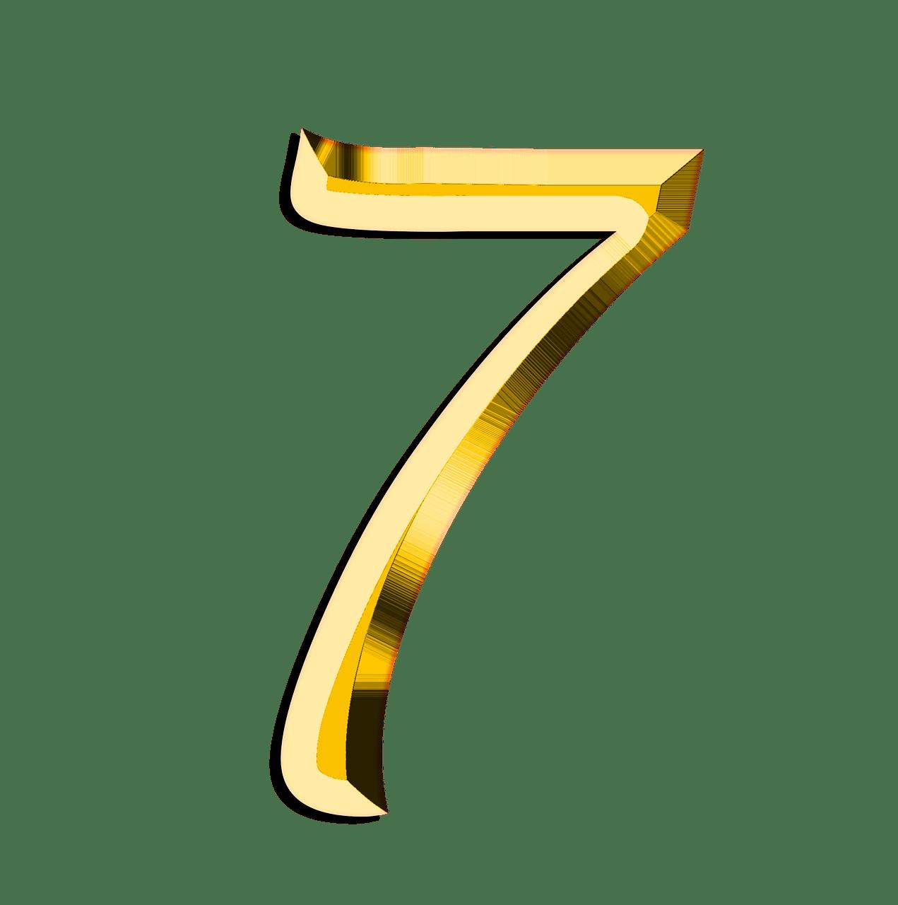 Golden Number 7 transparent PNG.
