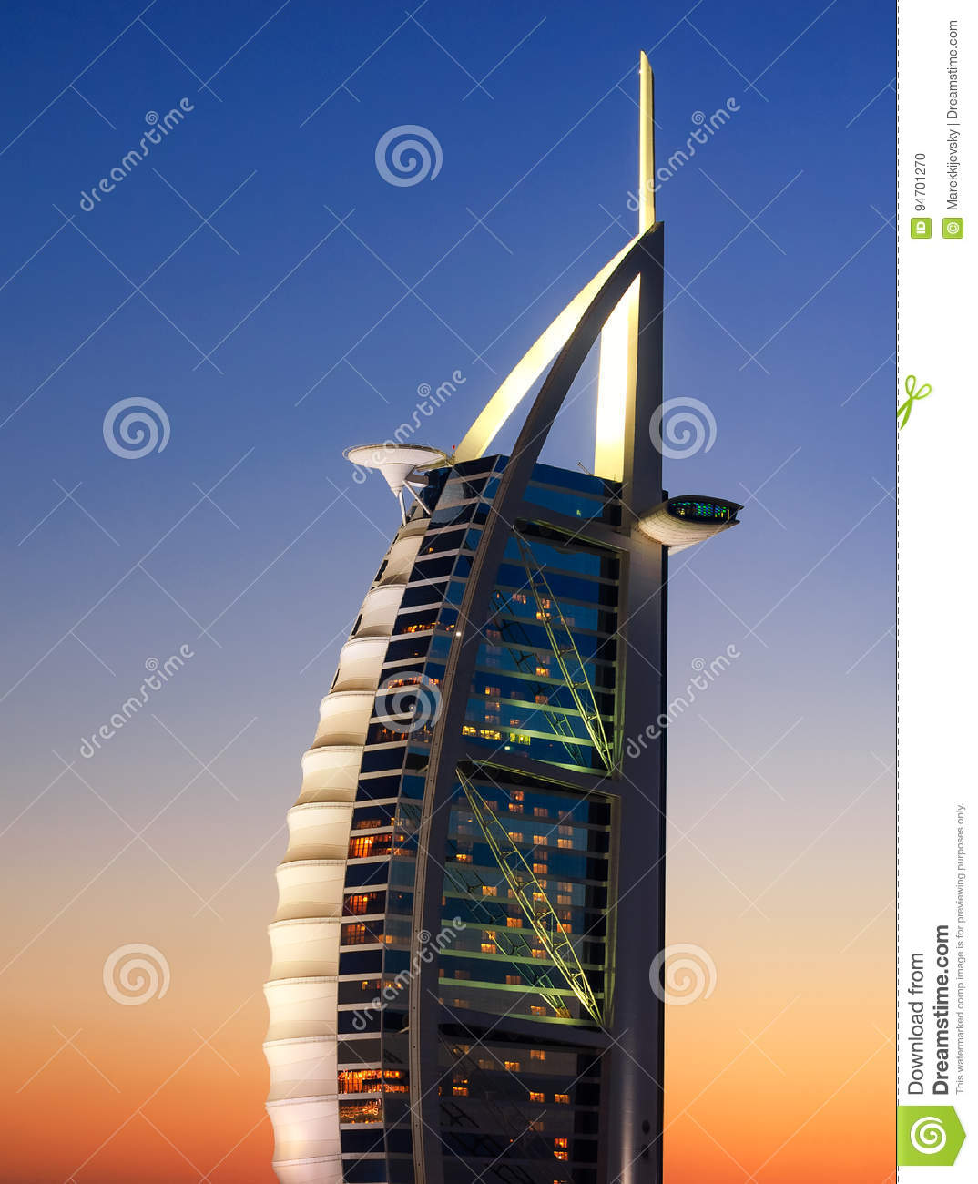 Jumeirah Beach View With 7 Star Hotel Burj Al Arab, Dubai, United.