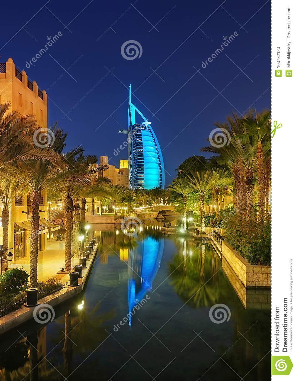 Famous Reflection View With 7 Star Hotel Burj Al Arab, Dubai, United.