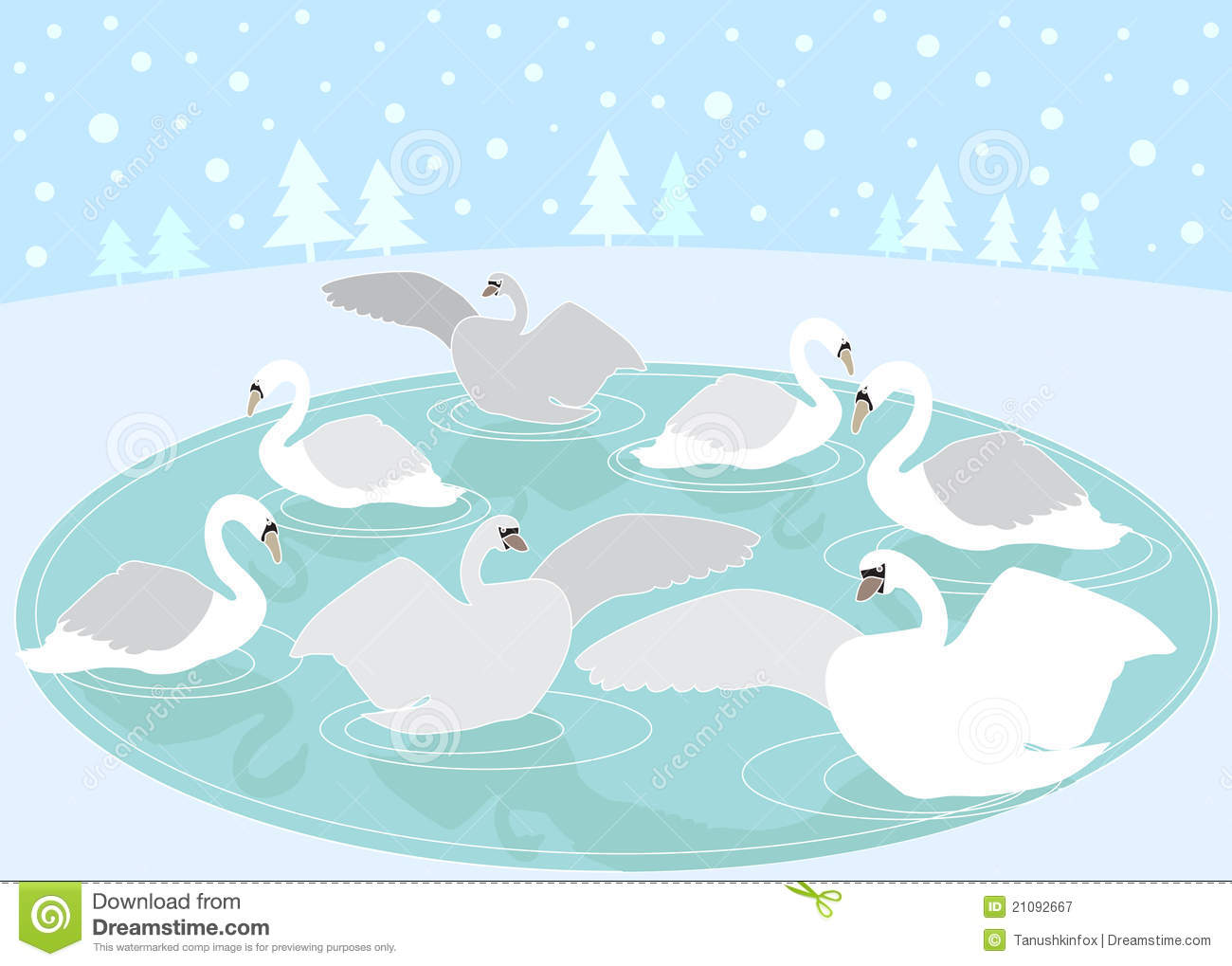 12 Days Of Christmas: 7 Swans A Swimming Stock Vector.