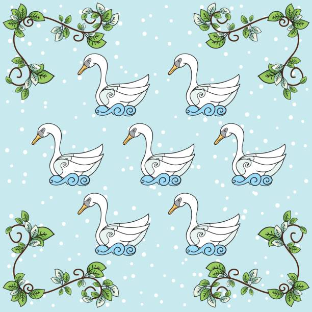 Seven Swans A Swimming Illustrations, Royalty.
