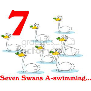 On the 7th day of Christmas my true love gave to me Seven Swans A swimming  clipart. Royalty.