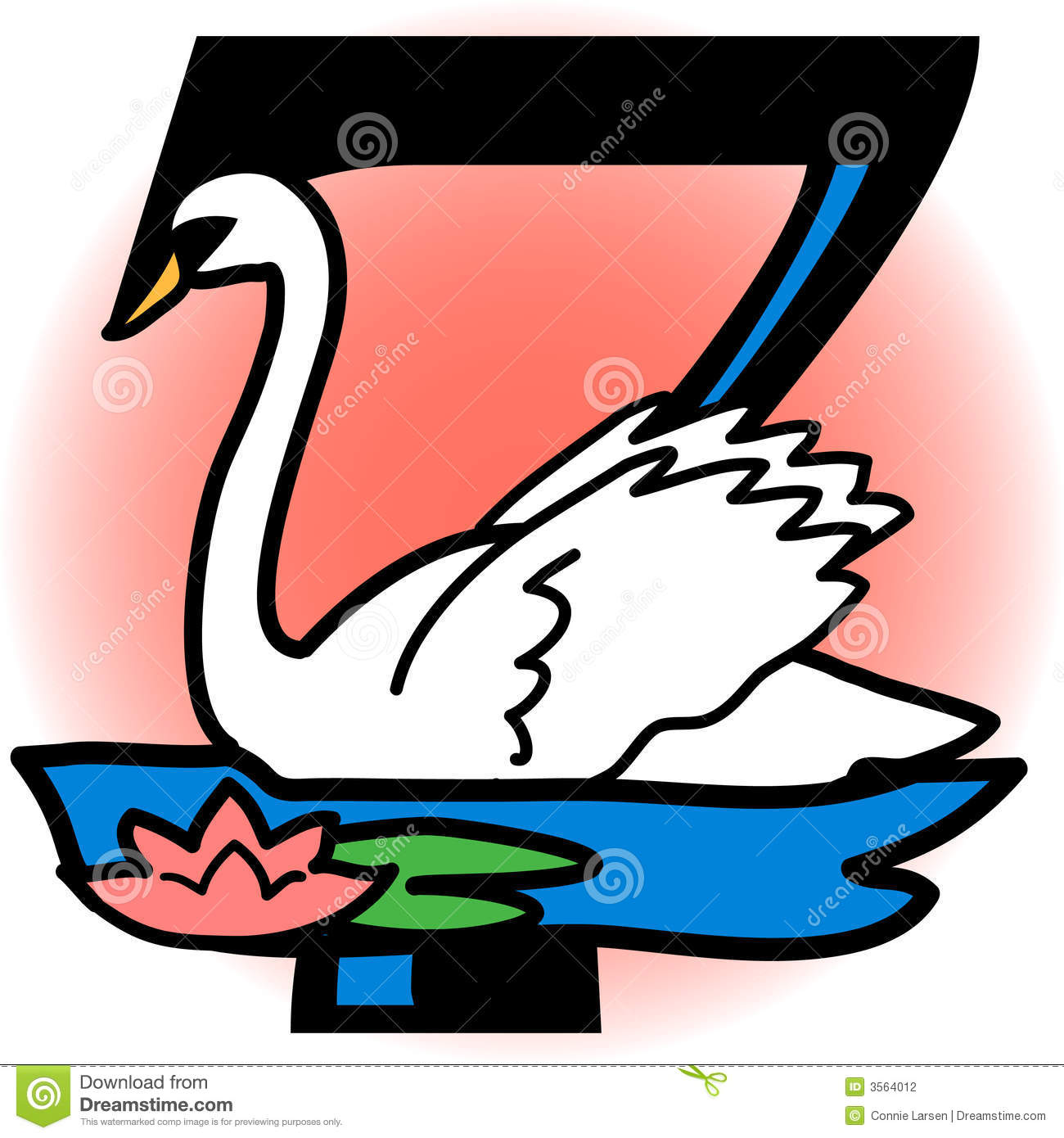 Seven Swans A Swimming/eps stock vector. Illustration of seasonal.