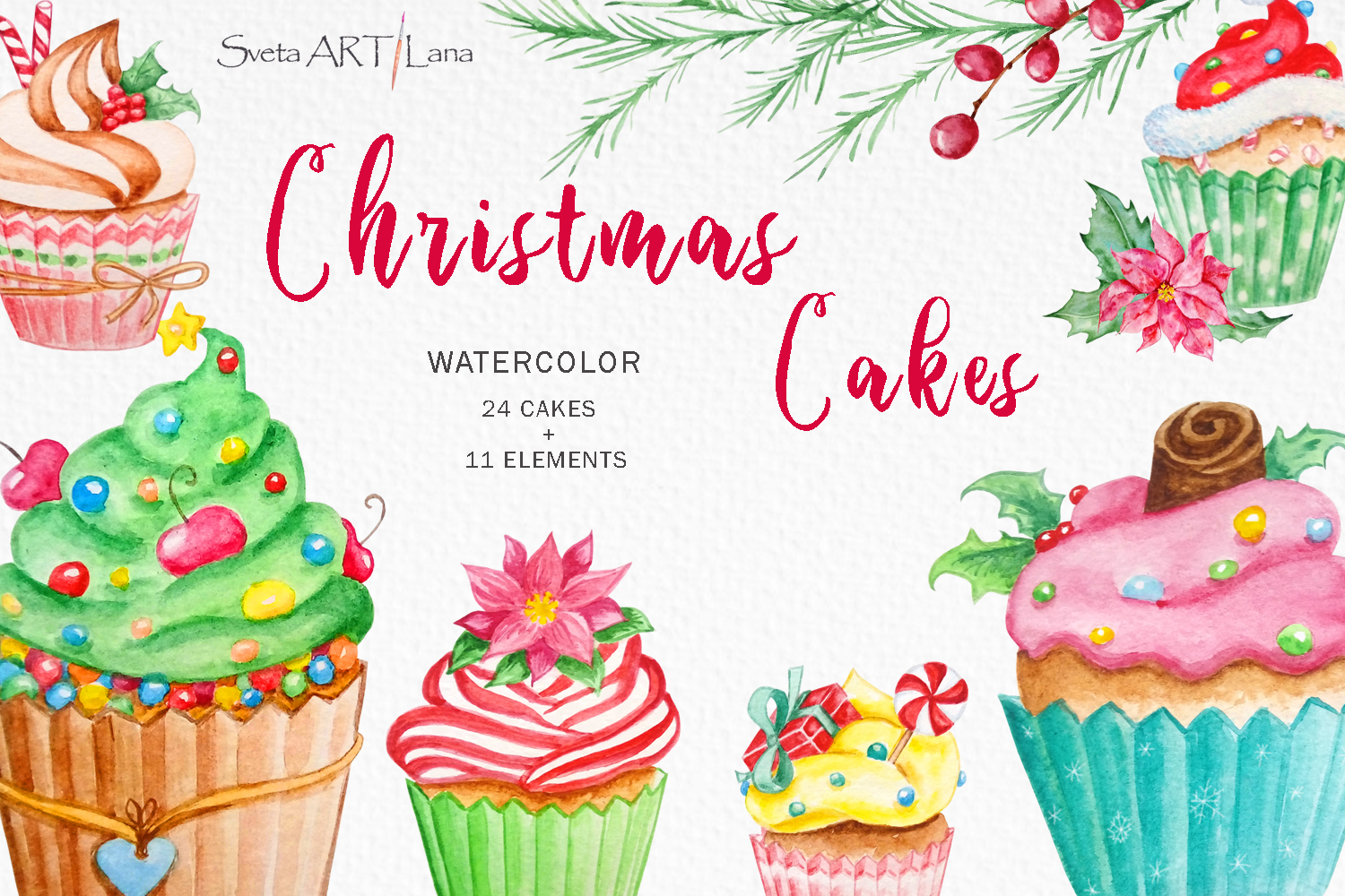 Christmas cupcakes clipart, watercolor cake.