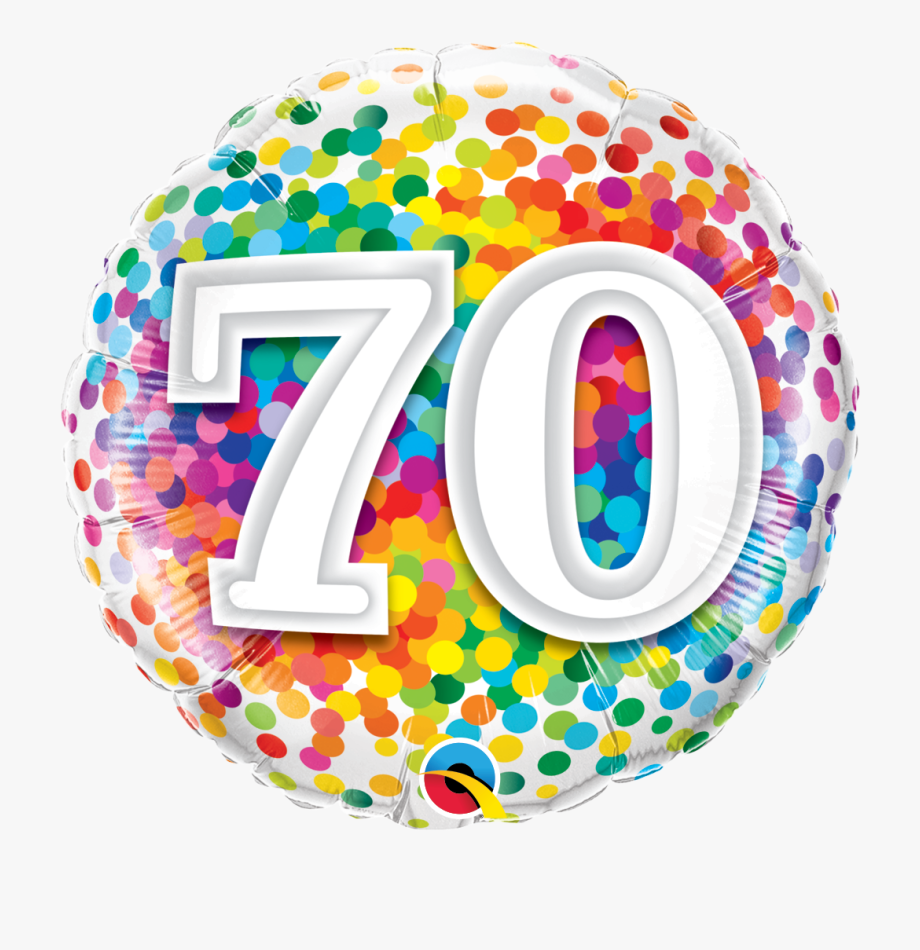 70th Birthday Confetti Design Foil Balloon 11479 P.