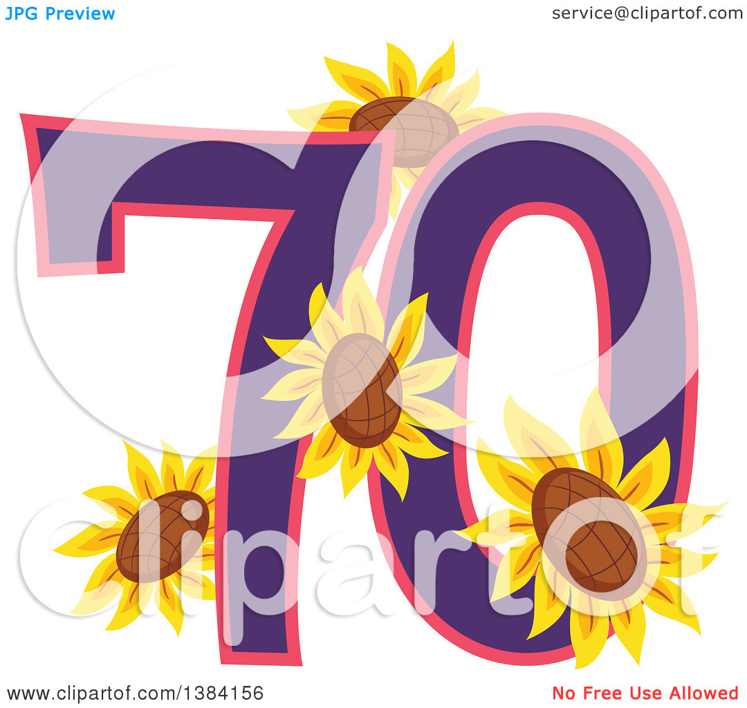 Clipart of a Seventieth Anniversary or Birthday Design with Number.