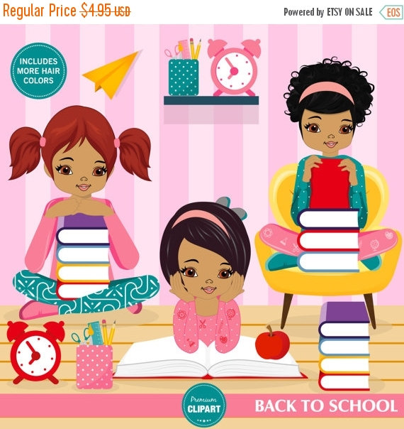 70% OFF SALE Back to school clipart, school supplies, reading.
