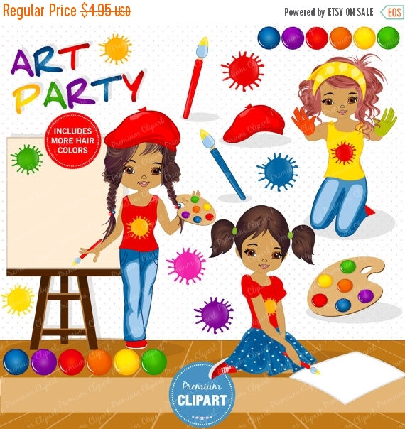 70% OFF SALE Painting party clipart, Girl clipart, African.