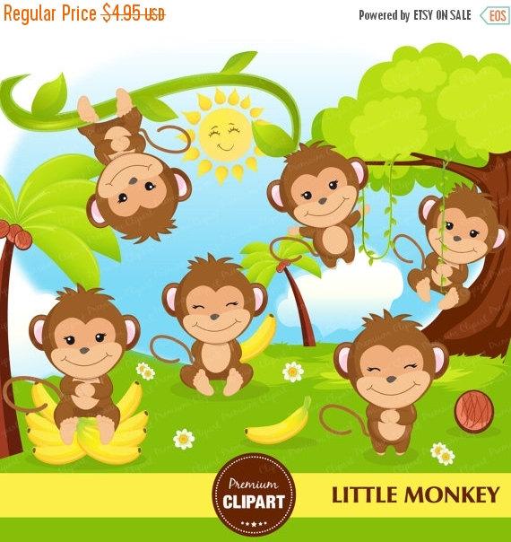 70% OFF SALE Monkey clipart, Monkey boy clipart, Monkey baby.