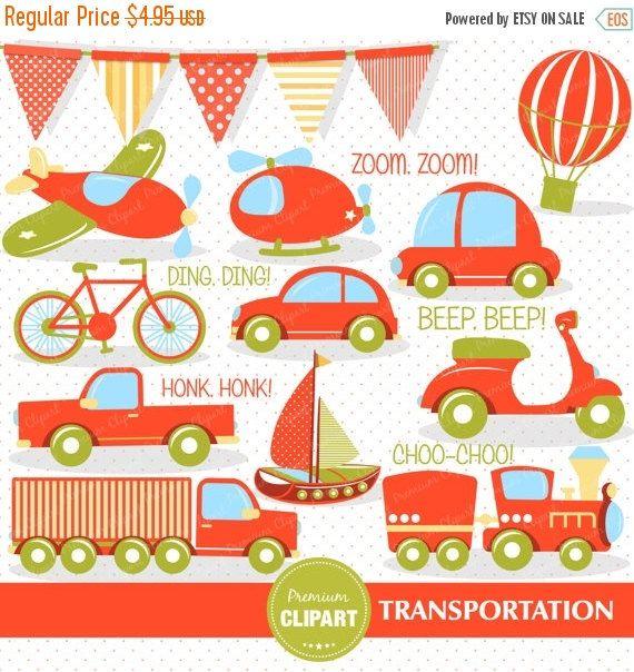 Transportation clipart set, Transport clipart, Boys transportation.