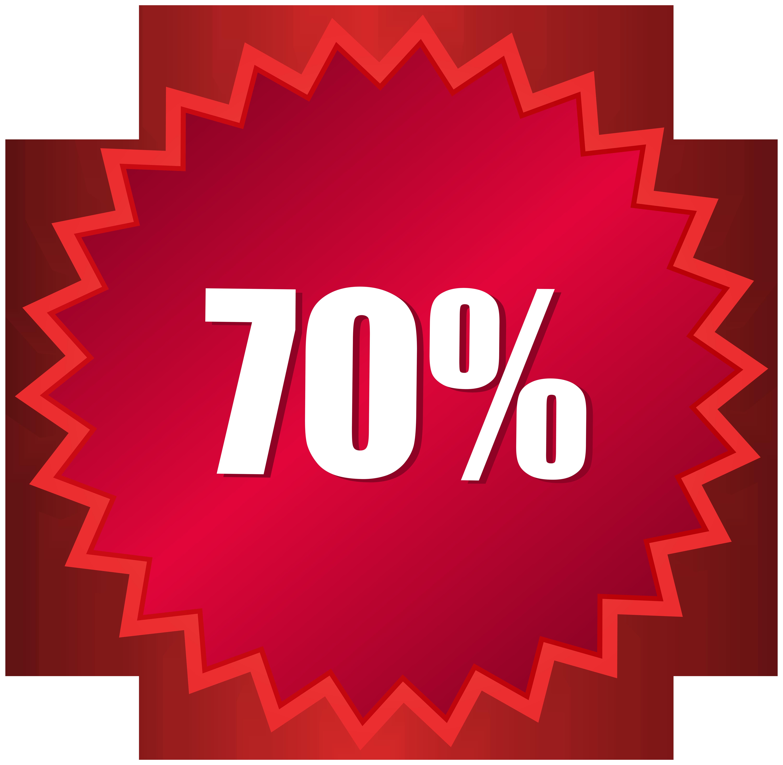 70 Off Sale Label PNG Clip Art Image.