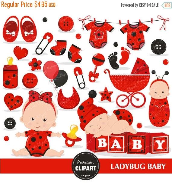 70% OFF SALE Ladybug baby clipart commercial use, ladybug baby.