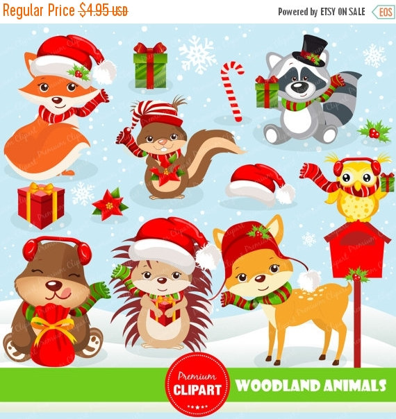 70% OFF SALE Christmas woodland animals clipart commercial use.