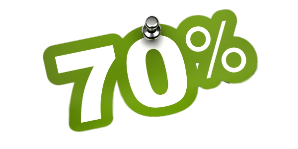 70% Discount Sticker transparent PNG.