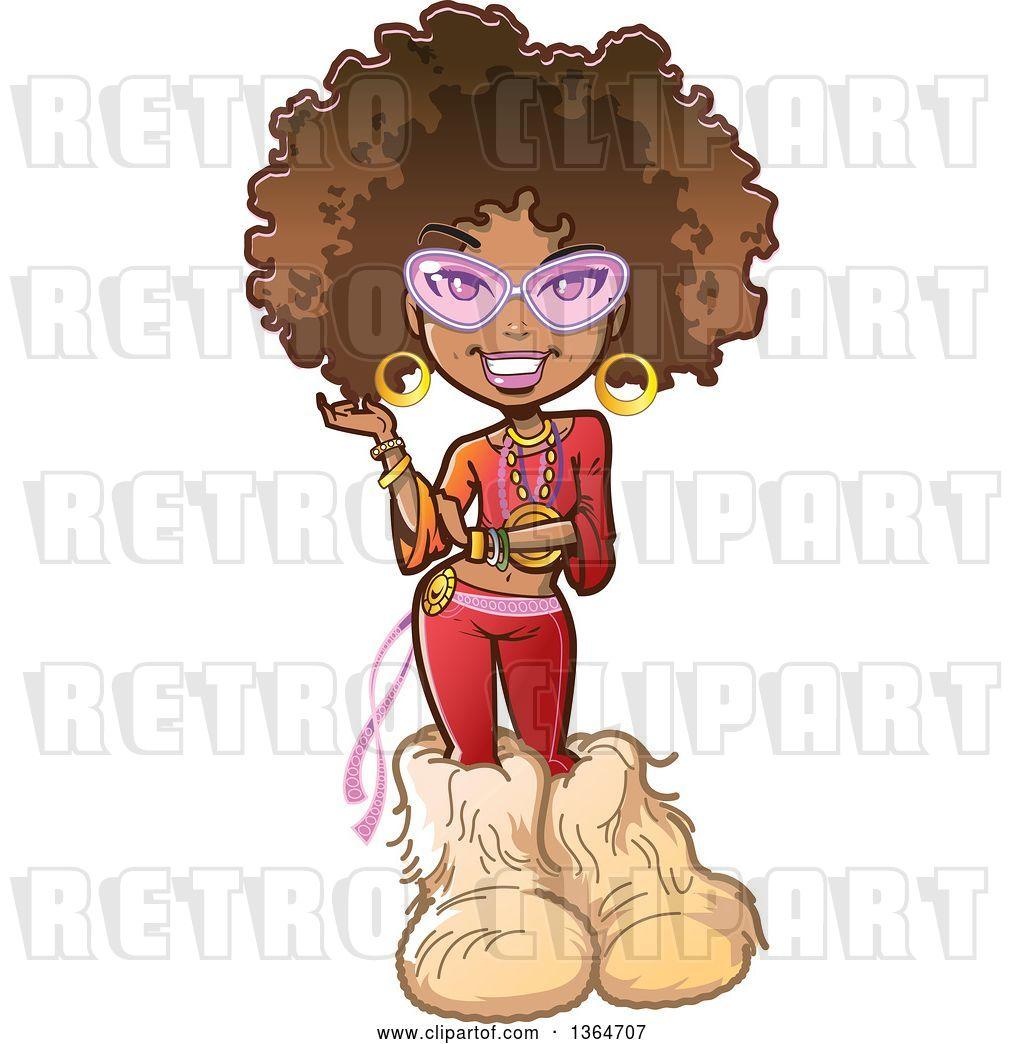 Vector Clip Art of Retro Cartoon Funky Pretty 70s Black Lady.