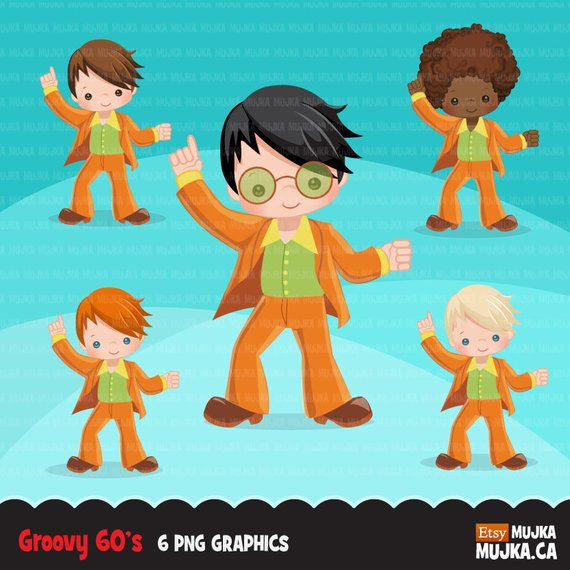 60\'s retro groovy Characters clipart. 70\'s graphics, retro.