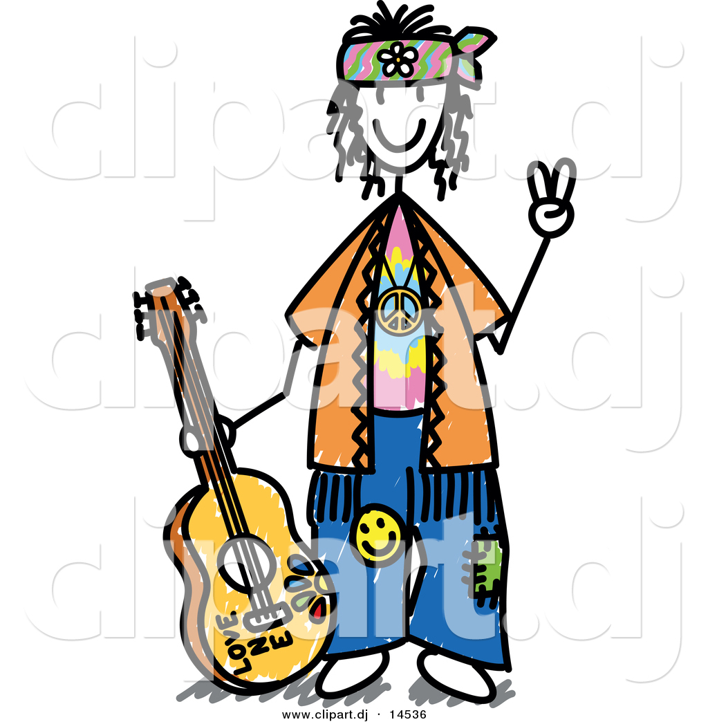 Hippie Guitar Clipart.