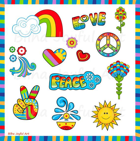 60\'s style Icons Clipart love peace groovy 60s 70s.