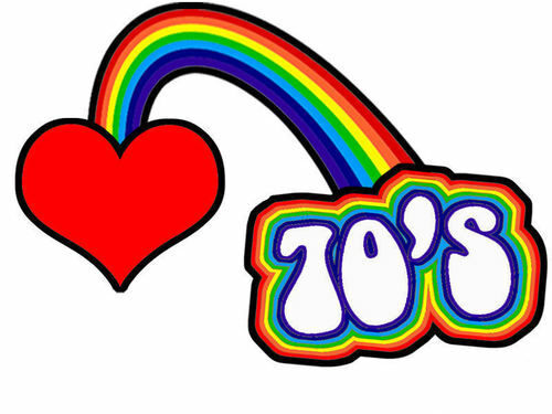 I LOVE THE 70\'S RETRO RAINBOW IRON ON T SHIRT TRANSFER LARGE A4 SIZE.