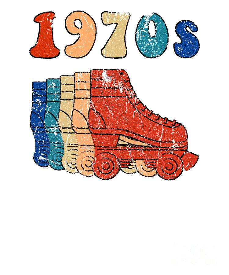 70s Roller Skates Disco Derby Retro.