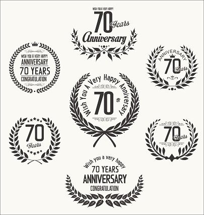 Anniversary laurel wreath collection 70 years Clipart Image.